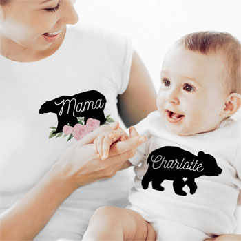 Personalised Mother & Baby Mama Bear T-Shirt (Small) & Vest