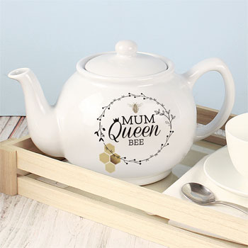 Personalised Fine Stoneware Queen Bee Teapot