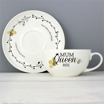 Personalised Bone China Queen Bee Teacup & Saucer