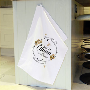 Personalised Queen Bee White Cotton Tea Towel Mum, Grandma