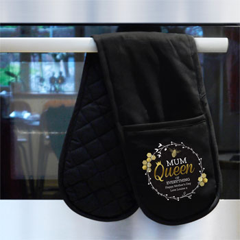 Personalised Queen Bee Black Oven Glove