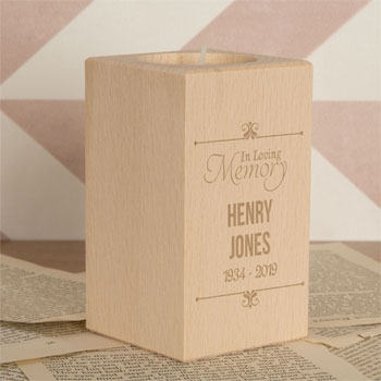 In Loving Memory Wooden Memorial Tealight Holder