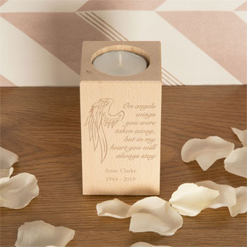 Angel Wings Wooden Tealight Personalised Memorial Gift