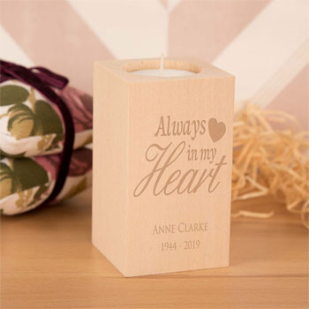 Always in my Heart Personalised Wooden Tealight Holder