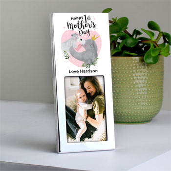 Personalised 1st Mother's Day Mama Bear 6x2 Inch Photo Frame