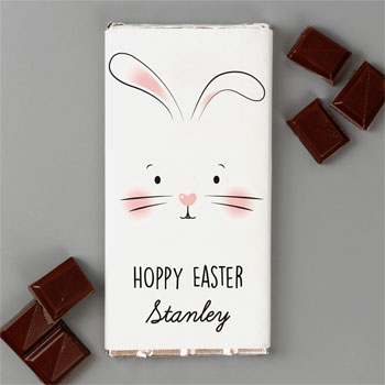 Personalised Bunny Features Milk Chocolate Bar Easter Gift