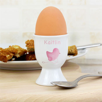 Girl's Personalised Pink Chick Egg Cup 1st Easter Gift