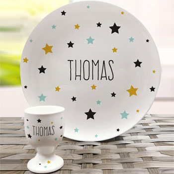 Personalised Star Bone China Plate and Egg Cup
