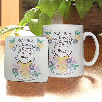 Personalised Peppa Pig Mummy Pig Floral Mug & Coaster