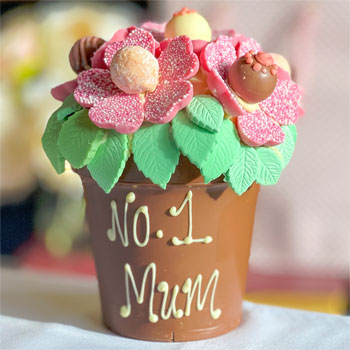 Personalised Belgian Chocolate Pink Smash Flower Pot