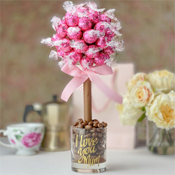 Personalised Pink Strawberries & Cream Lindor Sweet Tree