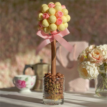 Personalised White Lindor Sweet Tree with Edible Pink Roses