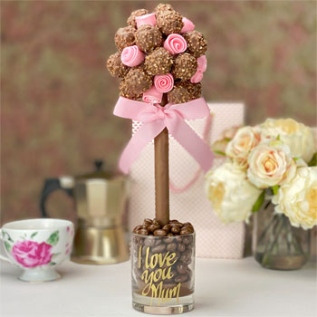 Personalised Ferrero Rocher Sweet Tree & Edible Pink Roses