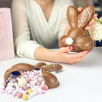 Personalised Belgian Chocolate Smash Easter Bunny Bum