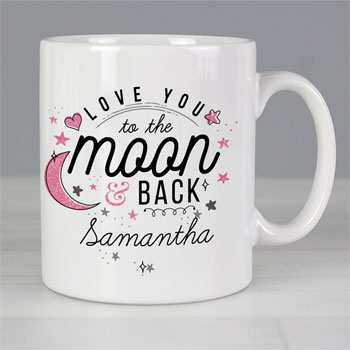 Personalised To The Moon & Back Pink Ceramic Women's Mug
