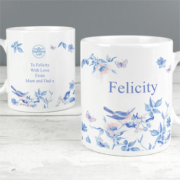 Personalised Country Diary Blue Blossom Ceramic Mug
