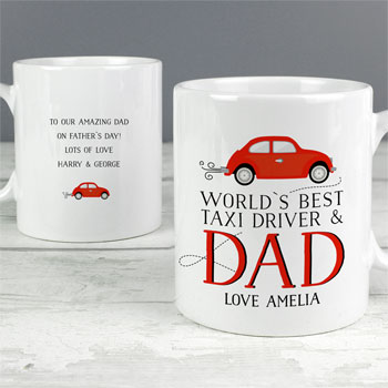 Personalised World's Best Taxi Driver Dad Ceramic Mug