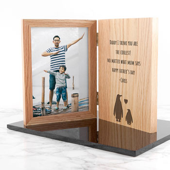 Engraved Father's Day Wooden Penguin Book Photo Frame