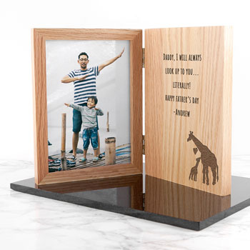 Engraved Father's Day Giraffe Book 5x7 Inch Photo Frame
