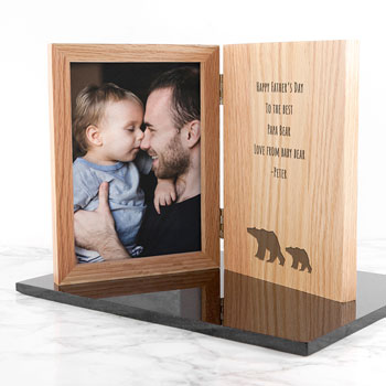Engraved Father's Day Bear Book Style 5x7 Inch Photo Frame
