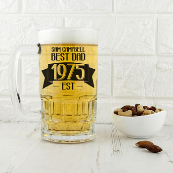 Best Dad Established In Personalised Beer Glass Tankard