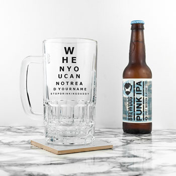 Personalised Opticians Chart Beer Glass Tankard