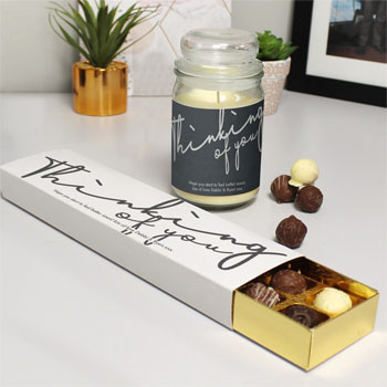 Thinking Of You Candle Jar & Chocolate Truffles Gift Set