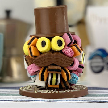 Personalised Liquorice Allsorts Head With Hat & Moustache