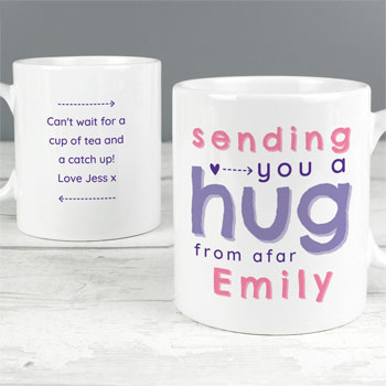 Women's Personalised Pink Hug From Afar Ceramic Mug