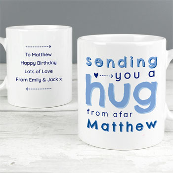 Men's Personalised Blue Hug From Afar Ceramic Mug