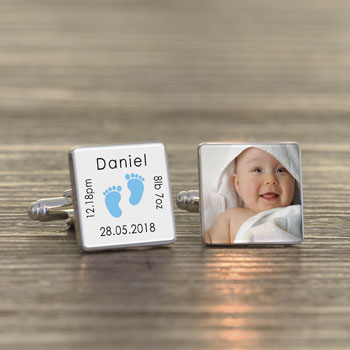 New Daddy Personalised Photo Cufflinks Pink Or Blue