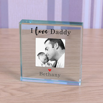 Large Personalised Glass Photo Daddy Token