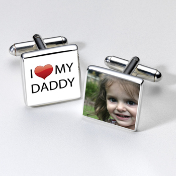 Silver Plated I Heart Daddy Photo Cufflinks