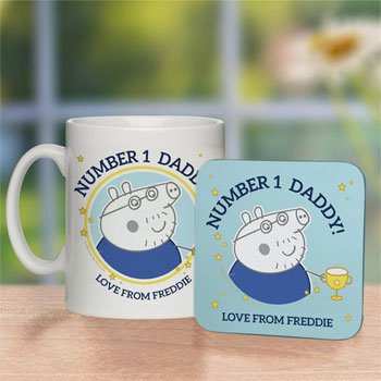Peppa Pig Number 1 Daddy Mug & Coaster