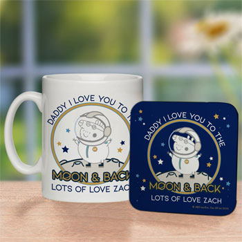 Peppa Pig Daddy Moon & Back Mug & Coaster Set