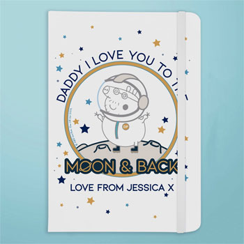 Personalised Peppa Pig Daddy Moon & Back A5 Notebook