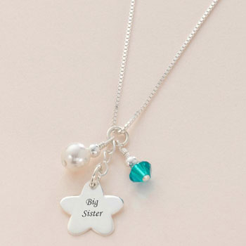 Sterling Silver Flower Birthstone Big Sister Necklace