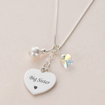Sterling Silver Big Sister Heart Necklace With Pearl