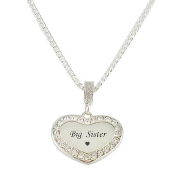 Stainless Steel & Diamante Big Sister Heart Necklace