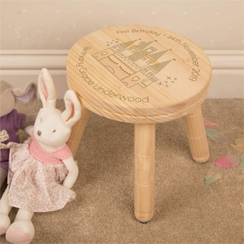 Girl's Magic Castle Personalised Wooden Stool