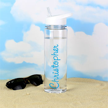 Personalised Blue Name Clear Water Bottle