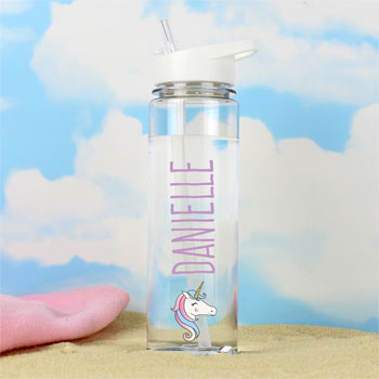 Girl's Personalised Unicorn Island Water Bottle
