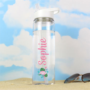 Girl's Personalised Flamingo Island Water Bottle