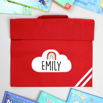 Personalised Rainbow Red School Book Bag
