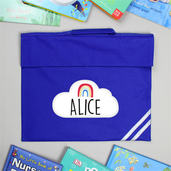 Personalised Rainbow Blue School Book Bag
