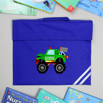 Personalised Monster Truck Blue School Book Bag