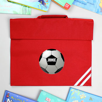Personalised Football Red School Book Bag