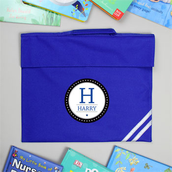 Personalised Initial Blue Book Bag