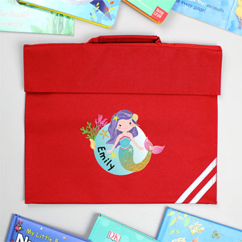 Personalised Mermaid Red Book Bag