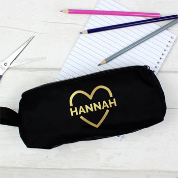 Girl's Personalised Gold Heart Black Pencil Case